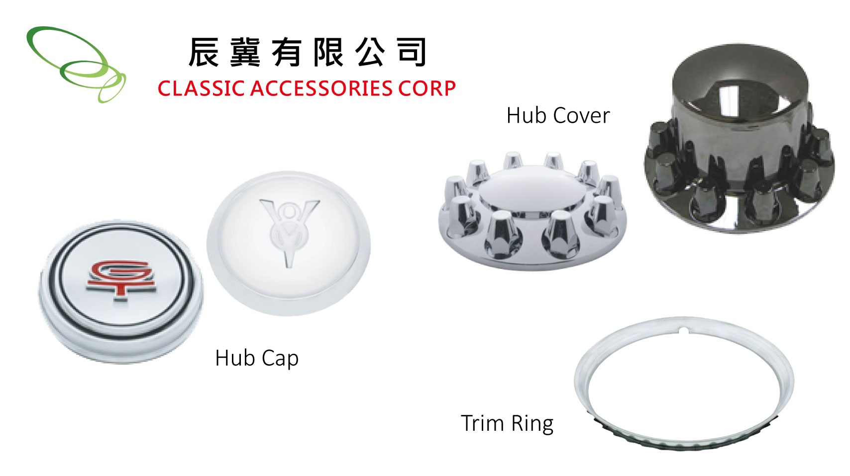 Hub Cap, Hub Cover, Trim Ring for Wheels / Tires Parts made by CLASSIC ACCESSORIES CORP. 辰冀有限公司 – MatchSupplier.com