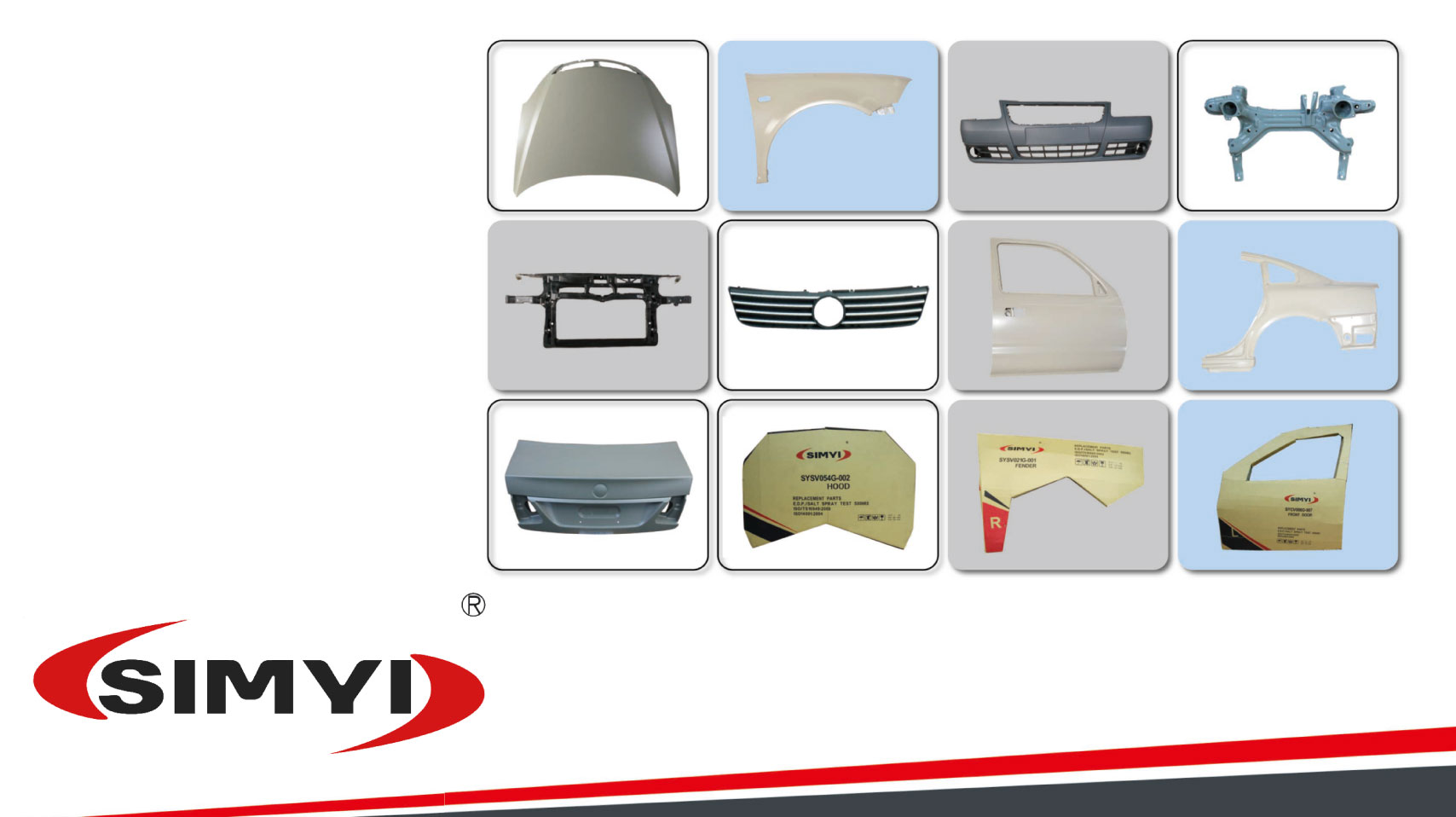 Hood, Fender, Grille, Support, Bumper, Door, Rear Trunk Lid for Body Parts made by Shanghai Simyi Auto Parts Industry Co., LTD. 上海鑫毅交通工業有限公司 – MatchSupplier.com